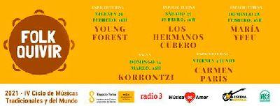 Cartel del cuarto ciclo de Música Folk Folkquivir 2021 en Sevilla