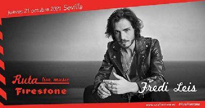 Cartel del concierto de Fredi Leis (Ruta Firestone) en Custom Sevilla 2021