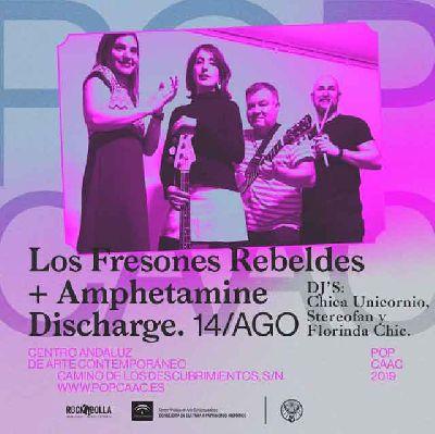 Cartel del concierto de Los Fresones Rebeldes y Amphetamine Discharge en Pop CAAC Sevilla 2019