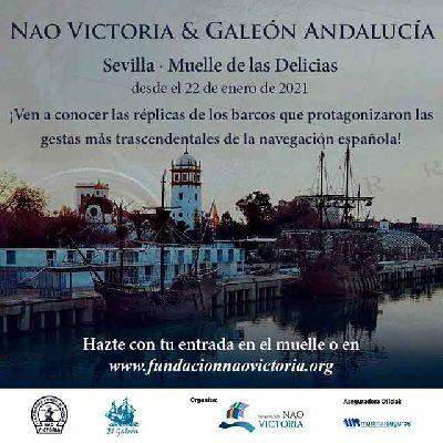 Cartel de las visitas al Galeón Andalucía y la Nao Victoria en Sevilla 2021