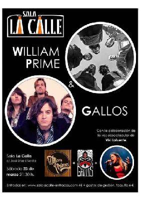 Cartel del concierto Gallos y William Prime en sala La Calle Sevilla 2019