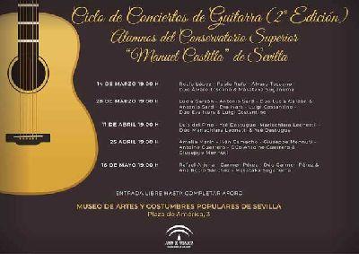 Cartel de los conciertos de guitarra en el Museo de Artes y Costumbres Populares de Sevilla 2019