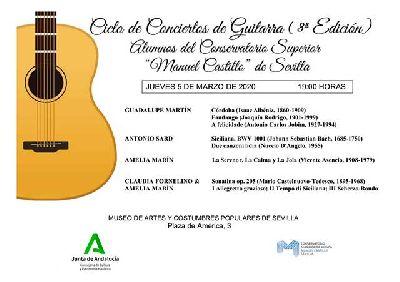 Cartel de los conciertos de guitarra en el Museo de Artes y Costumbres Populares de Sevilla 2020