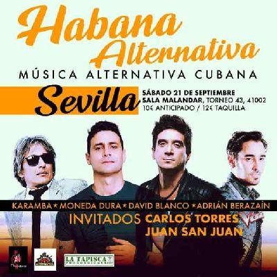 Cartel del concierto Habana alternativa en Malandar Sevilla 2019