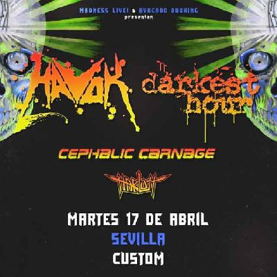Concierto: Havok, Darkest Hour y Cephalic Carnage en Custom Sevilla 2018
