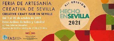 Cartel de la duodécima feria de artesanía Hecho en Sevilla 2021