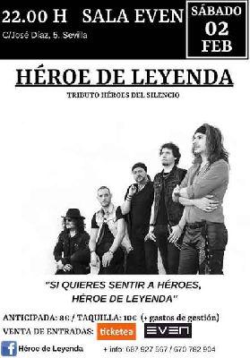 Cartel del concierto de Héroe de Leyenda en la Sala Even Sevilla 2019