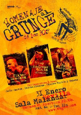 Cartel del concierto de Homenaje al Grunge de los 90 en Malandar Sevilla 2019