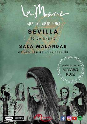 Cartel del concierto de La Mare y El combo Guanabí + Álvaro Ruiz en Malandar Sevilla 2019