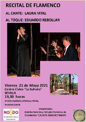 Cartel de Laura Vital y Eduardo Rebollar en La Buhaira de Sevilla 2021