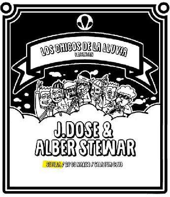 Cartel del concierto del grupo J Dose y Alber Stewar (Los Chicos de la Lluvia) en FunClub Sevilla 2020