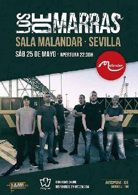 Cartel del concierto de Los de Marras en Malandar Sevilla 2019