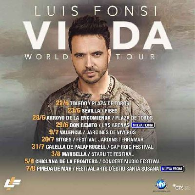 Cartel de la gira Vida World Tour 2019 de Luis Fonsi