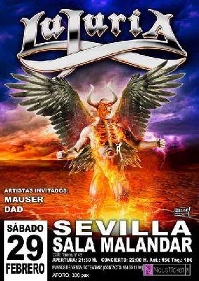 Cartel del concierto de Lujuria, Mauser y Dad en Malandar Sevilla 2020