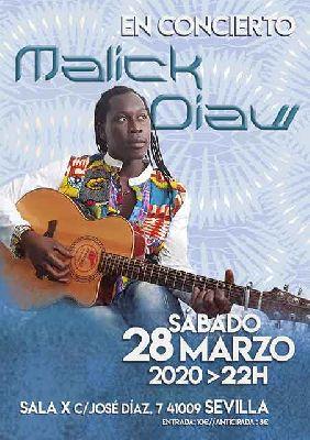 Cartel del concierto de Malick Diaw en la Sala X de Sevilla 2020