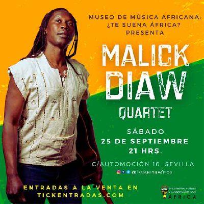 Cartel del concierto de Malick Diaw quartet en el Museo Música Africana de Sevilla 2021
