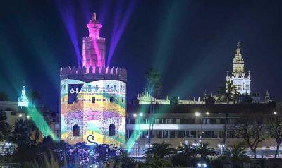 Foto promocional del mapping en la Torre del Oro de Sevilla