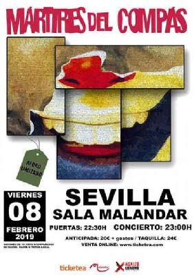 Cartel del concierto de Mártires del Compás en Malandar Sevilla 2019