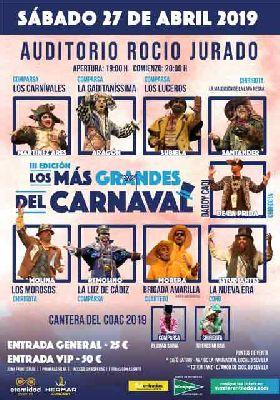 Cartel de los más grandes del Carnaval de Cádiz en Sevilla 2019