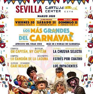Cartel de los más grandes del Carnaval de Cádiz en Sevilla 2020