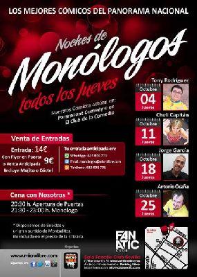 Noches de Humor y Monólogos en la Sala Fanatic Sevilla (sept-oct)
