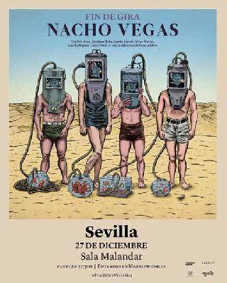 Cartel del concierto de Nacho Vegas en Malandar Sevilla 2019