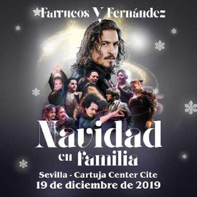 Cartel de Farrucos y Fernández. Navidad en familia en el Cartuja Center de Sevilla