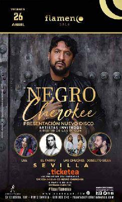 Cartel de la actuación de Negro Cherokee en la Sala Flamenco de Sevilla 2019