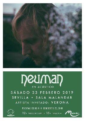 Cartel del concierto de Neuman (acústico) y Verona en Malandar Sevilla 2019
