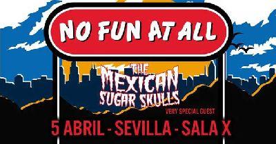 Cartel del concierto de No Fun At All y The Mexican Sugar Skulls en la Sala X de Sevilla