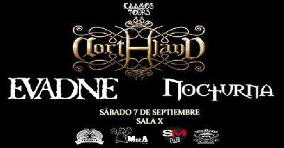 Cartel del concierto de Northland, Evadne y Nocturna en la Sala X de Sevilla