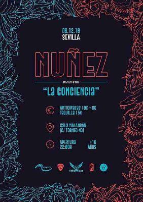 Cartel del concierto de Nuñez en Malandar Sevilla 2019