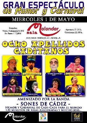 Cartel del concierto Ocho apellidos gaditanos en Malandar Sevilla 2019