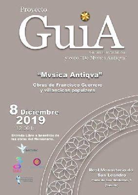 Cartel del concierto de la Orquesta GUIA y Mvsica Antiqva en San Leandro Sevilla 2019