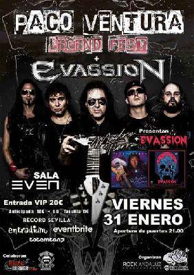 Cartel del concierto de Paco Ventura y Evassion en la Sala Even Sevilla 2020