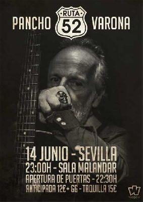 Cartel del concierto de Pancho Varona en Malandar Sevilla 2019