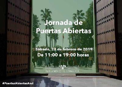 Cartel de las visitas por la Jornada de puertas abiertas en el Parlamento de Andalucía 2019