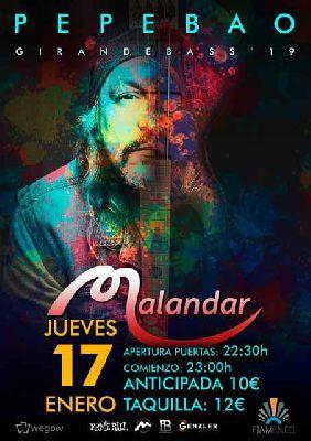Cartel del concierto de Pepe Bao en Malandar Sevilla 2019