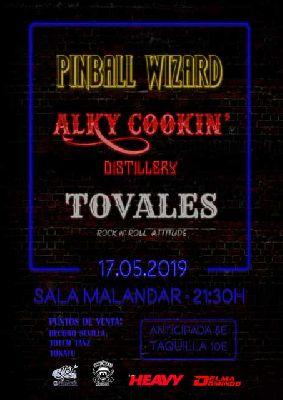 Cartel del concierto de Pinball Wizard, Tovales y Alky cookin' Distillery en Malandar Sevilla 2019