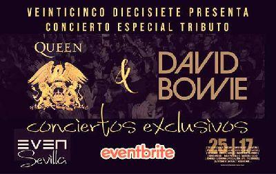 Cartel del concierto de bandas tributos a Queen y David Bowie en la Sala Even Sevilla 2021