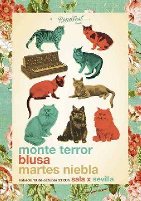 Cartel del concierto de Monte Terror, Blusa y Martes Niebla en la Sala X de Sevilla
