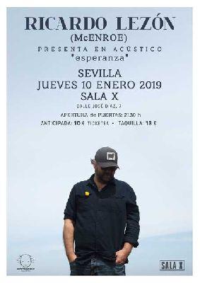 Cartel del concierto de Ricardo Lezón (McEnroe) en la Sala X de Sevilla