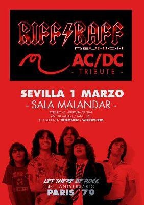Cartel del concierto de Riff Raff Reunion en Malandar Sevilla 2019