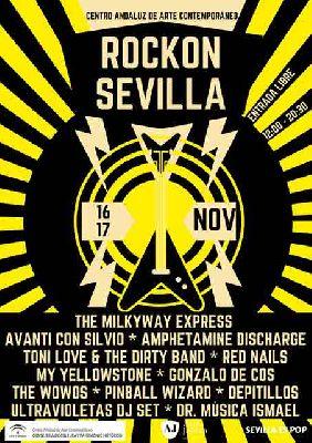 Cartel del RockOn Sevilla en el CAAC de Sevilla (noviembre 2019)