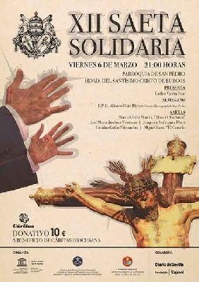 Cartel de la XII Saeta Solidaria de Sevilla 2020 a beneficio de Cáritas
