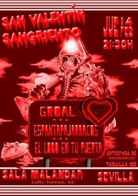 Cartel del concierto de San Valentín Sangriento en Malandar Sevilla 2019