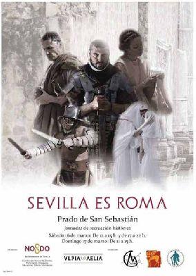 Cartel de las jornadas de recreción histórica Sevilla es Roma 2019