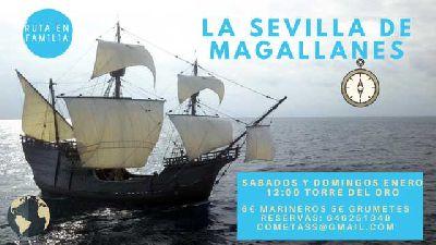 Cartel de la actividad La Sevilla de Magallanes por Mosaiqueando en Sevilla