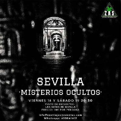 Cartel de la ruta Sevilla misterios ocultos por Z A S viajes y eventos 2019