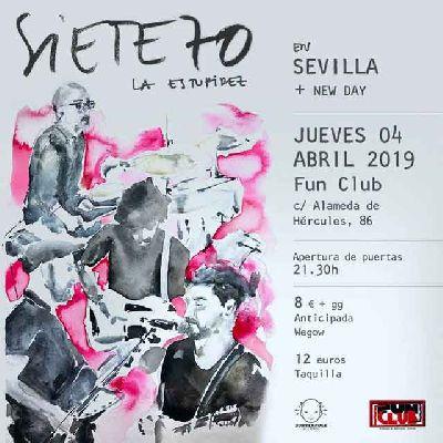 Cartel del concierto de Siete70 y New Day en FunClub Sevilla 2019